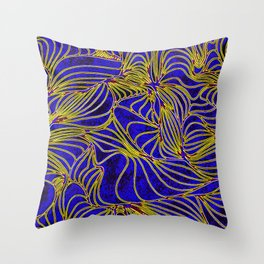 Curves in Yellow & Royal Blue Throw Pillow
