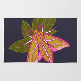 Nature moth - elephant hawk moth with leaves Rug