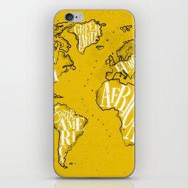 Worldmap vintage yellow iPhone Skin