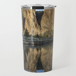 Reflection of Smith Rock in Crooked River Travel Mug