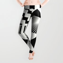 Mosaic Black And White Pattern Leggings
