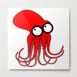 Cute Red Octopus Metal Print