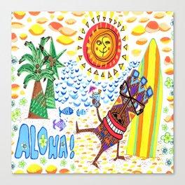 mid century modern Hawaiian tiki toast pattern Canvas Print