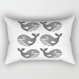 Big Black Whales | Block Printing Design Rectangular Pillow