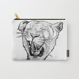 Lioness head line drawing / BW Carry-All Pouch