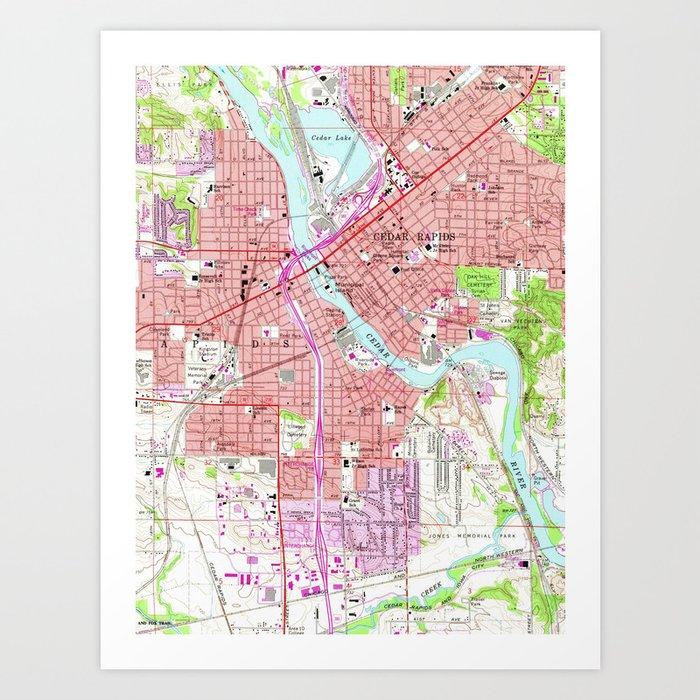 graphic relating to Printable Map of Iowa identified as Basic Map of Cedar Rapids Iowa (1967) Artwork Print