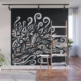 Doodle White Ink Black Paper Bohemian Wall Mural