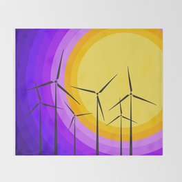 Windmills - Sunset Throw Blanket