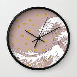 Rolling Waves in Gold Wall Clock