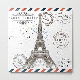 Art hand drawn design with Eifel tower. Old postcard style Metal Print