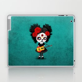 Day of the Dead Girl Playing Spanish Flag Guitar Laptop & iPad Skin