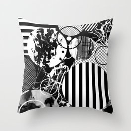 Black And White Choas - Mutli Patterned Multi Textured Abstract Throw Pillow