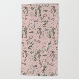 Mermaid Pattern Pink and Gold Beach Towel