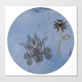 Embroidered Ghostly Bee With Anthotype Cicada Canvas Print