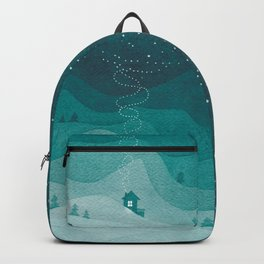 Stars factory, teal mountains house watercolor landscape Backpack