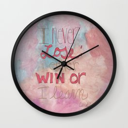 Quoteables #9 - Win or Learn on Watercolor Wall Clock