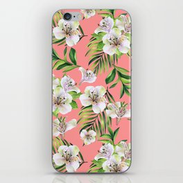 White flowers on a pink background iPhone Skin