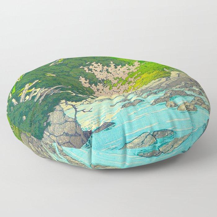 Vintage Japanese Woodblock Print Beautiful Water Creek Grey Rocks Green Trees Floor Pillow