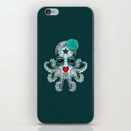 Teal Blue Day of the Dead Sugar Skull Baby Octopus iPhone Skin