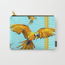 MODERN  AQUA BLUE & GOLD TROPICAL MACAWS IN FLIGHT Carry-All Pouch