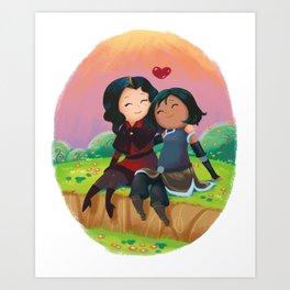 Asami and Korra Art Print