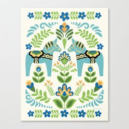 Swedish Dala Horses Teal Canvas Print