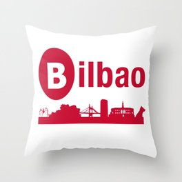 Bilbao, home of the Guggenheim and Athletic in Spain Throw Pillow