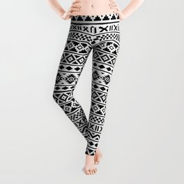 Aztec Essence Pattern Black on White Leggings