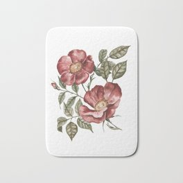 Red Floral Painting Bath Mat