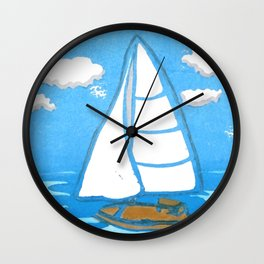 Sailboat Printmaking Art Wall Clock