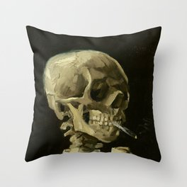 Vincent van Gogh - Skull of a Skeleton with Burning Cigarette Throw Pillow