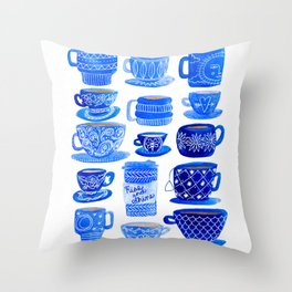 Coffee Mugs and Tea Cups - A study in blues Throw Pillow