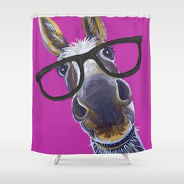 Up Close Donkey Art With Glasses Shower Curtain