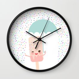 pink ice cream, ice lolly holding an umbrella. Kawaii with pink cheeks and winking eyes Wall Clock