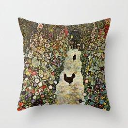 """Gustav Klimt """"Garden Path with Chickens"""" Throw Pillow"""