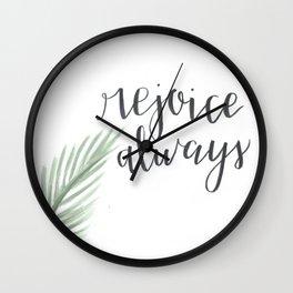 rejoice always // watercolor bible verse palm branch Wall Clock