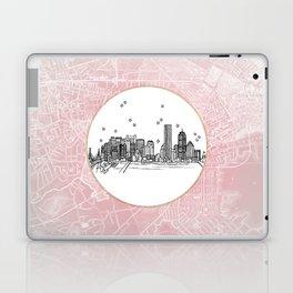 Boston, Massachusetts City Skyline Illustration Drawing Laptop & iPad Skin