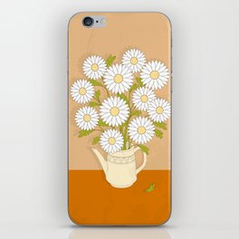 bouquet of white camomiles in the vase iPhone Skin
