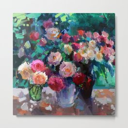 Flowers on The Garden Table Metal Print