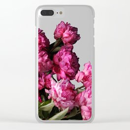 Peony Romance Teal Clear iPhone Case