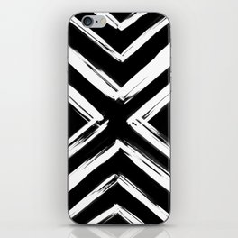 Minimalistic Black and White Paint Brush Triangle Diamond Pattern iPhone Skin