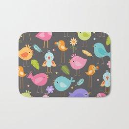 Birds - Gray Bath Mat