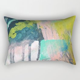 Melt: a vibrant abstract mixed media piece in blues, greens, pink, and white Rectangular Pillow