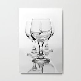 Three empty wine glasses on white Metal Print