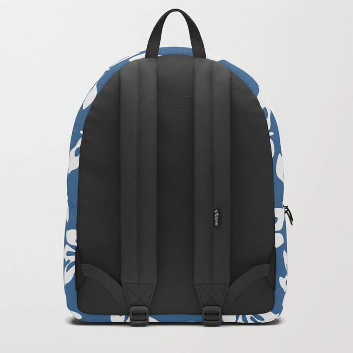 Blue White Tropical Leaf Pattern Backpack