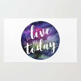 Live for Today Galaxy Typography Watercolor Quote Rug