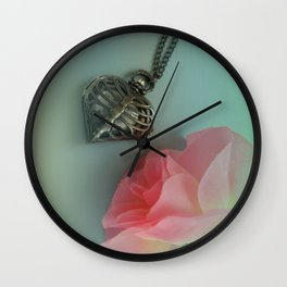Pink Rose, Skeleton Clock, Mint Green, Heart Shaped Wall Clock
