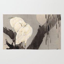 Egrets in a Tree at Night Rug