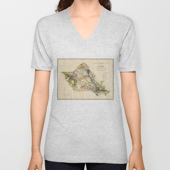 Vintage Map of Oahu Hawaii (1906) Unisex V-Neck