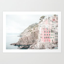 Positano, Italy pink-peach-white travel photography in hd. Art Print